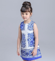 Wholesale Best Sell pure cotton double layer A dress sleeveless Chinese vintage style blue and white porcelain Fold fabric technology Girl s dresses
