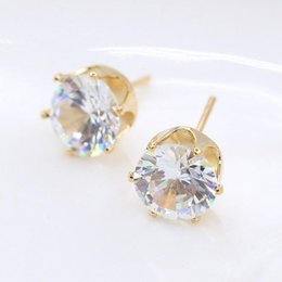 Fashion Jewelry 18K Yellow White Gold Plated Clear Cubic Zirconia CZ Pierced Stud Earrings for Women Girls