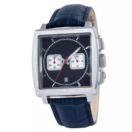Wholesale sponsored supplier brand watches men monaco quartz chronograph watch black dial original bracelet leather belts Watch Men dress Watches