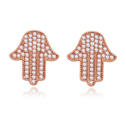 Earrings Studs Jewelry 18K Gold Plated Hand Style Stud Earrings 2016 New Fashion Women Cubic Zirconia Earrings Jewelry Wholesale TER080