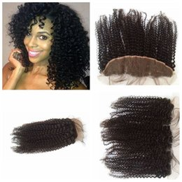Brazilian Lace Frontal 13x4 Afro Curl Full Lace Frontal Kinky Curly Lace Frontal Closure G-EASY hair free shipping