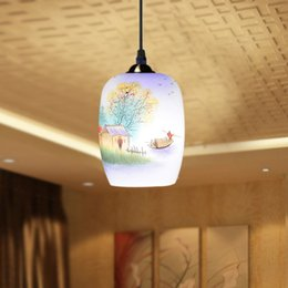Wholesale Antique Design Porcelain Lamps LED Lotus Vintage V E27 Eggshell Ceramic Kitchen Restaurant Hotel Pendant Lights