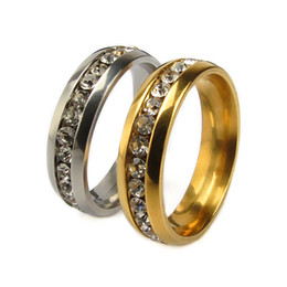 Brand New 20PCs Silver and Gold 6mm one row rhinestone stainless steel band wedding rings inside polished comfortable to wear wholesale lot