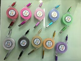 Wholesale Fashion USB Cable with LED Light Retractable Charging Data cable for mobile phone