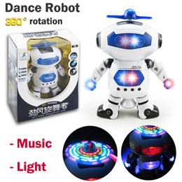 Wholesale TIANS MX1004 Kids electronic dynamic degree rotation dancing robot with music and light children birthday gift Funny Toys