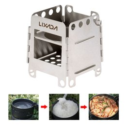 Wholesale LIXADA Portable Stainless Steel Lightweight Folding Wood Stove Pocket Stove Outdoor Camping Cooking Picnic Backpacking Stove DHL Y2400