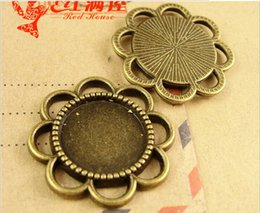 A1223 25MM Fit 14MM Retro bottom support DIY jewelry accessories wholesale, antique silver cameo setting, round cabochon blanks