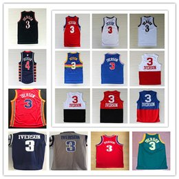 Wholesale Best Stitched Allen Iverson Basketball Jerseys Georgetown Hoyas Color Blue Yellow Red White Black Throwback Iverson Shirts