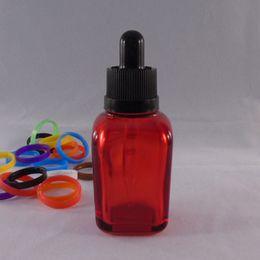 Wholesale Unicorn Bottles Glass Silk Screen Label Printed Bottle E Liquid Glass ML Square Clear Red Glass E Juice Bottle For Sale