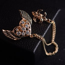 Korean version of the angel wings brooch pin brooch chain tassels men and women suit collar pin jewelry heart-shaped brooch
