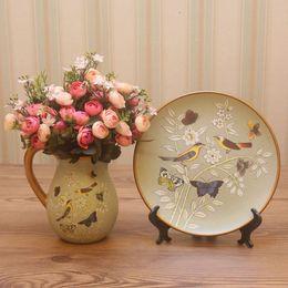 Wholesale Continental retro small decorative vase of high grade ceramic vase table table decoration vase milk pot set meal