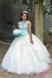 New Princess Quinceanera Dresses 2016 High Neck Blue Appliques Ball Gown Tulle Plus Size Sweet 15 Girls Prom Party Gown Cheap Customizd