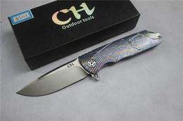2017 bolas de rodamiento CH3501 cuchillo plegable D2 cuchilla de la bola cuchillo de la caza cuchillo de supervivencia de caza de la manija del TC4 cuchillo de supervivencia de la caza herramienta libre bolas de rodamiento limpiar