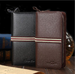 New Fashion PU Leather Men Wallets Cross Pattern High Capacity Wallet Double Zipper Man Phone Handbag Coin Purse Card Holder