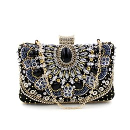 Luxury Vintage Small Beaded Clutch Purse Women Elegant Black Evening Bags Wedding Party Clutch Handbag Hand-stitched Bag A858