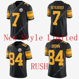 Wholesale Hot Limited NWT NIK Rush Steelers Antonio Brown Ben Roethlisberger Stitched Embroidery Logos Men s America Football Jerseys Sweatshirts