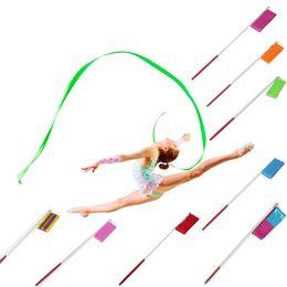 Wholesale 9Colors Dance Ribbon Gym Rhythmic Gymnastics Art Ballet Streamer Twirling Rod Outdoor Sport Games Kids Children Adult Toys Gifts