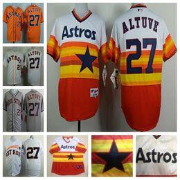 Wholesale Cheap Mens Houston Astros Jerseys Jose Altuve Orange Throwback Baseball Jersey Stitched Embroidery Logos