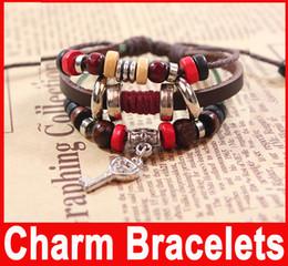 Wholesale New Vintage Key Handmade Fashion Punk Bracelet en cuir Corde Cross Bangle Bracelets Charm Bijoux pour amant
