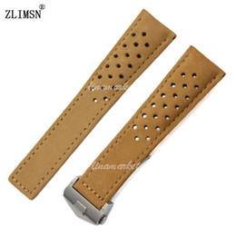 Bandas de reloj de 22mm MENS Coffee Leather Holes de cuero genuino Watch band strap Para TAG--