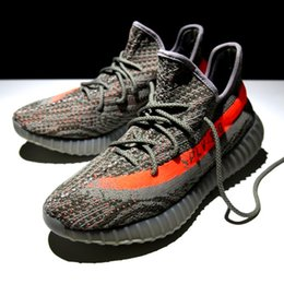 Wholesale With Box Sply Boost Shoes Orang Stripe kanye west Season Boost Shoes with translucent outsole in accompanying dark sand colorway