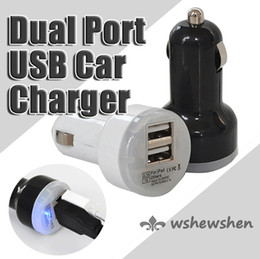 Dual Port USB Car Charger Adapter Bullet Mini USB Car Charger Universal for Iphone 4 Iphone 5 phone