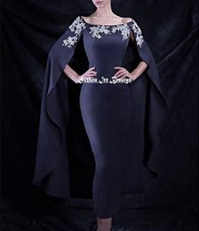 Wholesale Navy Blue Mermaid Cloak Evening Dress Siver Beaded Long Dubai Turkey African Cape Prom Dresses Formal Gowns Fast Shipping Cheap