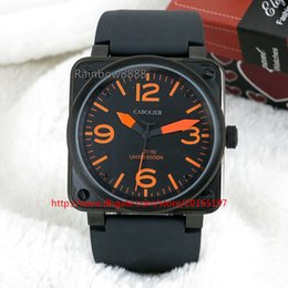 2016 orange number and Black case mens wristwatches square automatic mechanical male clock fashion big size