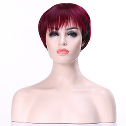 HAIRJOY Popular Burgundy Short Straight Wig Woman Fashion Party Wig High Qaulity Synthetic Hair Sexy Wigs