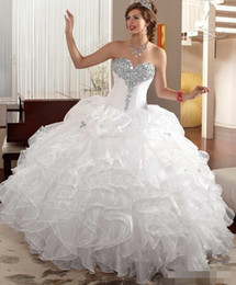 Elegant White Quinceanera Dresses with Jacket Sweetheart Beads Neck Ruffles Organza Corset 2019 Cheap Plus Size Sweet 16 15 Debutantes Gowns