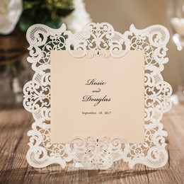 Wholesale 2017 Best Wedding Invitations Champagne Lace Paper Blank Inner Sheet Laser Cutting Wedding Invitation Flowers Hollow Wedding Cards CPA566