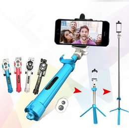 Wholesale Newest Tripod selfie stick bluetooth control Remote Shutter selfie stick folding monopods selfie monopods in one kits Protable selfie
