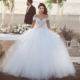 2016 Newest Ball Gown Wedding Dresses Off Shoulder Short Sleeve Tulle Bride Dress Long Train robe de mariage Bridal Gowns
