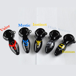 Wholesale Valor Mystic Instinct Poke GO Logo Glass Pipes Batman Oil Burner Pipes for Smoking Pocket Monster Hand Tobacco Spoon Pipes Glass Pipes Sale