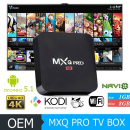 Wholesale MXQ PRO TV Box K Amlogic S905 Android Lollipop Csutomized KODI Loaded Live Streaming Media Players