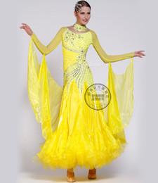 yellow red black white customize Fox trot cha cha ballroom Waltz tango salsa Quick step competition dance dress