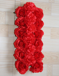 Red roses and chrysanthemum Artificial wedding silk rose arch flower wedding decoration flower row flower frame 10pcs lot