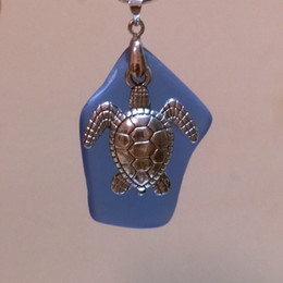 "Turtle Charm & 2"" Royal Blue Beach Sea Glass Bead~ Handmade Jewelry Necklace Pendant JCT ECO®"
