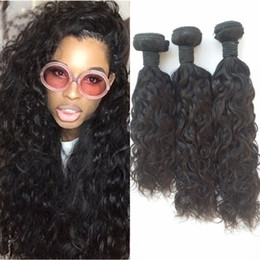 Brazilian Water Wave Virgin Human Hair Weaves Bundles Natural Black Unprocessed Wet And Wavy Virgin Hair Wefts 8-30inch G-EASY