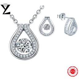Wholesale 2016 New Fashion Women White Gold Plated Princess Cut Cubic Zirconia Dancing Created Diamond Jewelry Sets Pendant Earrings DP35810A