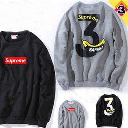 Wholesale 2016 Tide Brand Kuso Banana Men Black Gray Fashion Hoodies Letter Printed O Neck Fleece Loves Sweatshirts Tops