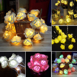 20 LED Rose Flower Fairy Wedding Garden Party Christmas Decoration Night Lights Battery Powered String Lights