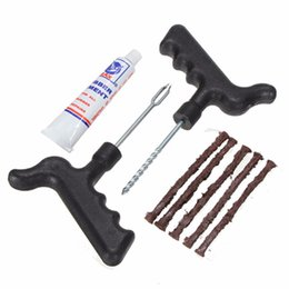 Wholesale Safety Strip Car Motorcycle Bike Auto Tubeless Tire Tyre Puncture Plug Bicycle Repair Kit Accessory Tool Set order lt no track