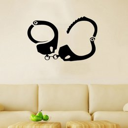 Wholesale Judicial Police Equipment Handcuffs Funny Car Stickers Vinyl Wall Art Decals Suitable For Home Decoration Bedroom Living Room