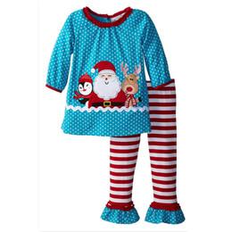 2016 New Girls pajamas 2pcs outfit set Christmas blue polka dot tshirt+stripe pant Xmas outfits sets Kids Halloween Cosplay Costumes