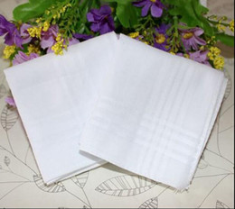 Wholesale Male White Handkerchiefs Cotton Satin Table Handkerchief Super Soft Whitest Pocket Towboats Squares cm for Banquet Party Use