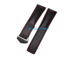 Promotion bracelet en cuir véritable 22mm (18mm Boucle) NEW TOP GRADE noir cousu rouge en cuir véritable imperméable Bracelet en sangles avec boucle Argent Pour Tagwatch