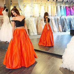 Two Pieces Prom Dresses Black And Orange Floor-Length Sweetheart Evening Wear Dress Piping Fashion New Backless Party Formal Cocktail Gown