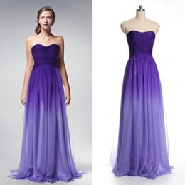 Wholesale 2016 Actual Photo Purple Gradient Ombre Bridesmaid Dress Sweetheart Evening Wear Formal Party Gown New Chiffon Long Cheap Prom Dress