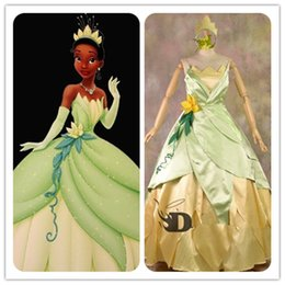 Wholesale COSPLAY Dress Princess and Frog Tiana Costume tailor made kid adult GOWN AZ Shoes Accessories gt Costumes Reenactment Theater gt Costumes gt Men